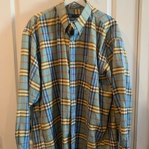 Burberry plaid dress shirt, excellent condition